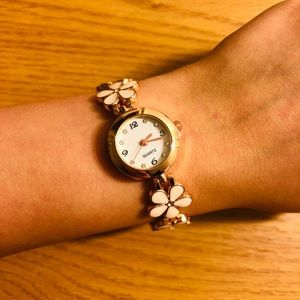 White floral bracelet watch